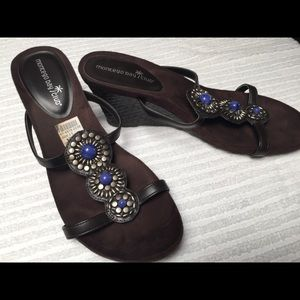 Brown Wedges with Jewelry fronts